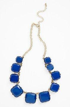 Gradated Square Stone Necklace