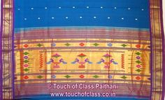 Touch of Class Paithani: Traditional Coconut/Narali Border Peacock Paithani Sarees | Nauvari 9 Yard Paithani | Cotton Paithani Saree