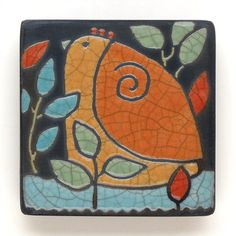Bird,Ceramic Wall Art , Bird,Ceramic tile,handmade 3x3 raku fired art tile