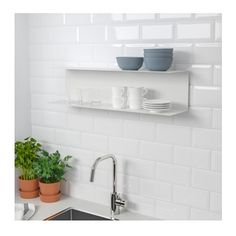 IKEA - BOTKYRKA, Wall shelf, white, The wall shelf makes it easy for you to see and reach the things you use every day. You can add a personal touch to your kitchen by displaying your cook books, collections or other decorative objects. Ikea Kitchen Shelves, Kitchen Wall Storage, Wine Shelves, Ikea Kitchens, Shelving Systems, Yellow Bathrooms, Wall Organization, Wall Brackets, Cleaning Wipes