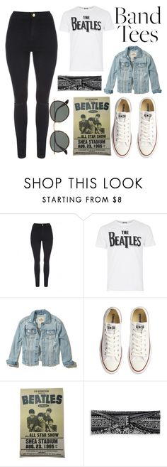 """""""I'm With The Band: Band T-Shirt"""" by a-hidden-secret ❤ liked on Polyvore featuring Jane Norman, Topman, Hollister Co., Converse, Boohoo and Ray-Ban"""