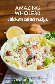 Amazing and delicious chicken salad is super easy to make! Lots of add-ins, ideas, and meal prep tips included with this recipe! The will be a breeze with this recipe! However, don't be surprised when this awesome chicken salad recipe bec Whole30 Chicken Salad, Chicken Salad Recipes, Healthy Salad Recipes, Lunch Recipes, Dairy Free Recipes, Paleo Recipes, Real Food Recipes, Gluten Free, Clean Recipes