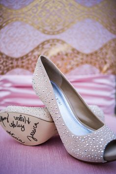 Beige and silver grommet wedding heels.  Photo by Beautiful Day Images.  www.wedsociety.com  #wedding #shoes