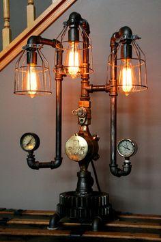 Machine Age Steampunk Steam Gauge Lamp #61