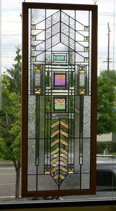 Prairie Style Stained Glass and Beveled Glass Window