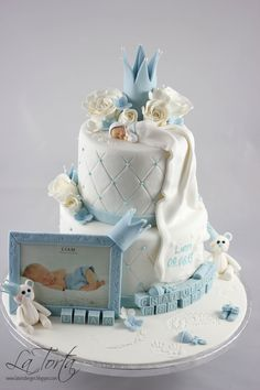 Boys christening / welcome to the world cake Torta Baby Shower, Baby Shower Cakes For Boys, Baby Boy Cakes, Baby Boy Shower, Fancy Cakes, Cute Cakes, Pretty Cakes, Beautiful Cakes, Baby Boy Christening Cake