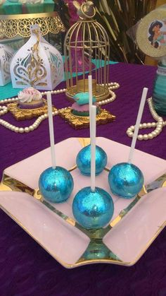 Sparkly cake pops at a Princess Jasmine birthday party! See more party ideas at CatchMyParty.com!