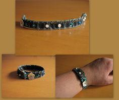 ❤LD: Armbandje van een oude spijkerbroek met blauwe tinten.