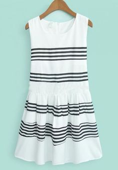 White Sleeveless Striped Ruffles Flare Dress - Sheinside.com Mobile Site