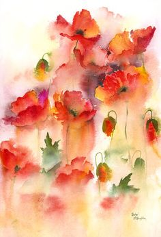 Rachel Mcnaughton - 'Field Poppies' Beautiful blends of color from the abstract flowers give an impressionist feel to this painting. Watercolor Poppies, Watercolor And Ink, Watercolour Painting, Watercolours, Abstract Watercolor Tutorial, Poppies Art, Art Floral, Abstract Flowers, Monet