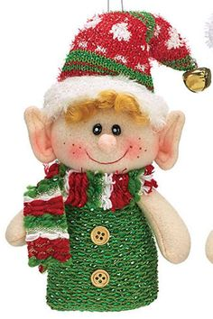 Elf ornament assortment available with green body and red hat; or red body and…