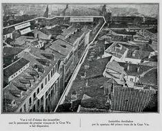 Grupo de casas que desaparecieron en la primera fase de la Gran Vía. Madrid