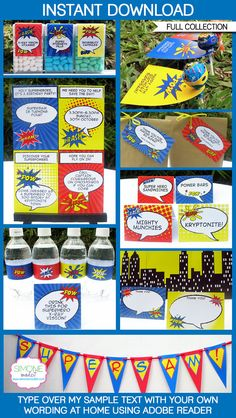 Type your own text into this HUGE Superhero printable collection that includes all the printables you need for a Superhero Party!    Instantly