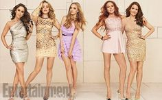 Pin for Later: Mean Girls Got a Stylish Upgrade — and It Doesn't Include Pink Sweatpants Mean Girls Style Now Lacey Chabert, Rachel McAdams, Amanda Seyfried, Lindsay Lohan, and Tina Fey wear embellished cocktail dresses for Entertainment Weekly.