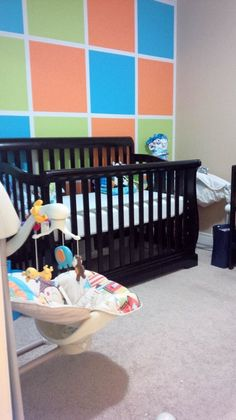 Colorful, modern square accent wall in the nursery | Project Nursery