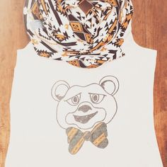 Tribal print Baylor green and gold scarf + bow tie Bear tank