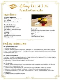 Disney Dishes, Disney Desserts, Disney Recipes, Disney Themed Food, Disney Inspired Food, Pumpkin Cheesecake Recipes, Pumpkin Recipes, Old Recipes, Vintage Recipes