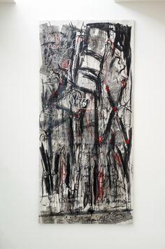 """""""Historias Acumuladas"""" by Iliana Emilia García 112"""" x 53"""" Mixta sobre canvas"""