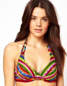 3dea04694c ASOS Blanket Print Halter Plunge Fuller Bust Bikini Top Honeymoon Attire