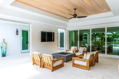 Screened Porch The builder, Oakley Home Builders, had the brilliant idea of adding a covered porch with retractable screens doors #porch #retractablescreensdoors Retractable Screen Door, Fixer Upper House, Room Colors, Home Builders, Porches, Pools, Oakley, Florida, Backyard