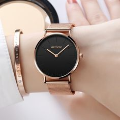 Buy it before it ends. There is always many products on sae upto - Women Watches Rose Gold Luxury Ladies Watch Ultra thin Wrist Watch Quartz Clock Woman Watch 2019 Milanese Steel relogio feminino - Fast Mart Elegant Watches, Beautiful Watches, Stylish Watches, Cool Watches, Watches For Men, Ladies Watches, Cheap Watches, Affordable Watches, Female Watches