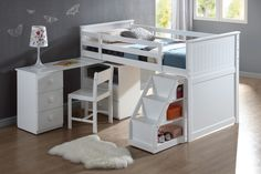 Wyatt White Loft Bed with Chest and Swivel Desk and Ladder
