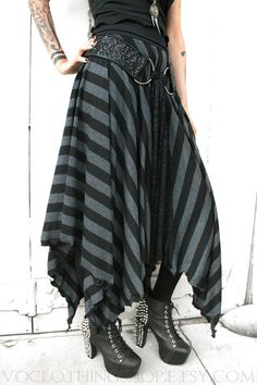 Long striped black and dark gray maxi skirt with lots of fullness and a pointed petal edge ruffle hem. Super comfy double-thick fold-over
