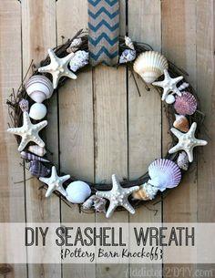 DIY Summer Wreaths : DIY Seashell Wreath {Pottery Barn Knockoff}