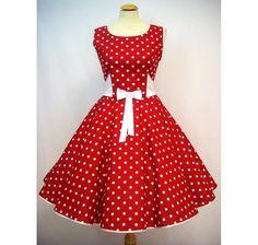 Entdecke lässige und festliche Kleider: Petticoatkleid Kleid 50-er Rockabilly rot weiß made by charme-mode via DaWanda.com
