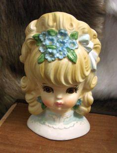 VINTAGE HEAD VASE - LEFTON HEAD VASE - GIRL HEAD VASE BLONDE GIRL HEAD VASE - ANTIQUE HEAD VASE BROWN EYE HEAD VASE - BLUE FLOWERS IN HAIR HEAD