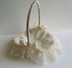 Wedding Flower Girl Basket Handmade  Priscilla Flowergirl in White or Ivory