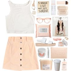 A fashion look from December 2014 featuring white crop top, peach skirt and platform sandals. Browse and shop related looks.