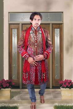 #Teal jamavar #wedding #sherwani in teal chuddi bottom-SH162