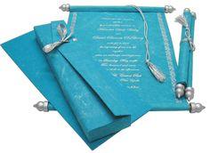 S402, Blue Color, Handmade Paper, Scroll Invitations, Jewish Invitations
