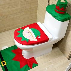 Click To Buy Christmas Interior 3pc Set Decoration Xmas Happy Santa Toilet Seat Cover And Rug Bathroom New Year Home Decorations A