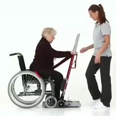 This device helps with a safe sit-to-stand transfer for people with reduced mobility. This device helps with a safe sit-to-stand transfer for people with reduced mobility. Home Gadgets, New Gadgets, Wheelchair Accessories, Sit To Stand, Cool Gadgets To Buy, Cool Inventions, Useful Life Hacks, Cool Things To Buy, Cool Stuff
