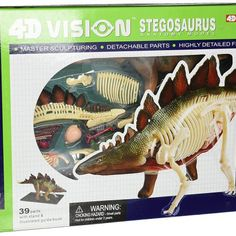 4D Stegosaurus Dinosaur Anatomy Model $34.99  Description 10.88 inches long Includes playing cards Includes illustrated guide book See though feature allows viewing of organs and bones For ages 8 years and above Highly detailed pre-painted detachable plastic parts. Transparent cutaway to show internal structures. Includes display stand and illustrated guidebook. 39 Parts