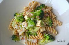 Ruokailmiö: Katkarapupasta Fusilli, Pasta Salad, Feta, Ethnic Recipes, Crab Pasta Salad, Noodle Salads, Macaroni Salad