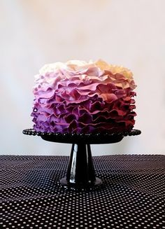 purple ombre cake with ruffles!