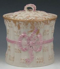 pottery & porcelain, Ireland, An Irish Belleek porcelain Ribbon jam pot. Gilt highlights and pink ribbons [and bows]. Marked with black mark Circa Kate Middleton Queen, Irish Pottery, Belleek China, Belleek Pottery, Ribbon Bows, Pink Ribbons, Cultura General, Waterford Crystal, China Porcelain