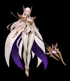Artstation - white magician elf, junq jeon fantasy concept k Female Character Design, Character Design Inspiration, Character Concept, Character Art, Anime Warrior, Warrior Girl, Fantasy Warrior, Fantasy Art Women, Fantasy Girl