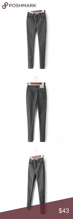 Top grey thin stretch high waist jeans pants Size(cm)  26      Length:93cm        Waist: 58-66cm       Hips:72-88cm           27      Length:94cm         Waist: 61-69cm      Hips:75-91cm           28       Length:95 cm         Waist: 64-73cm     Hips:78-93cm            29      Length:96cm         Waist: 67-76cm      Hips:81-96cm         30       Length:97cm       Waist: 70-79cm      Hips:84-99cm         31       Length:98cm       Waist: 73-82cm      Hips:87-102cm      (there maybe will be…