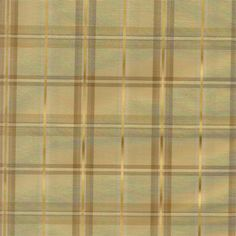 Custom window treatments in faux silk plaid pattern: Strafford in Olivenite : Soft Gold color with brushed gold accents: classic pattern for high end finish for window coverings