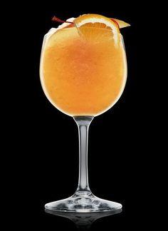 Allegria: Carrot Juice, Orange Juice, Pineapple Juice, Lemon Juice, Slice Mango Whole Maraschino Berry, Quarter Orange.