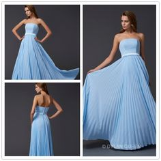 #dylanqueen Sky blue strapless &floor-length Evening dress with empire