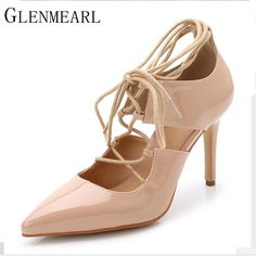 2017 Spring Fashion Brand Patent Leather Women Pumps Pointed Lace High  Heels Shoes Black Red High 8d77fa0693d7