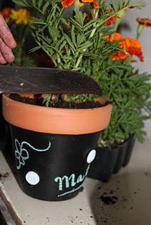Chalkboard painted flower pot