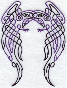 Embroidered Celtic Knotwork Raven Flour Sack / Hand by misty1718, $10.00