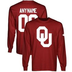 OU Sooners Personalized Football Name & Number Long Sleeve T-Shirt -   Any combination of name and number can be chosen for the back. Watch the Sooner Gift Guide show airings on 11/23 at 10p & 11/25 at 3p on Fox Sports OK & 11/29 at 9p on Fox Sports Southwest for exclusive discounts on this product!