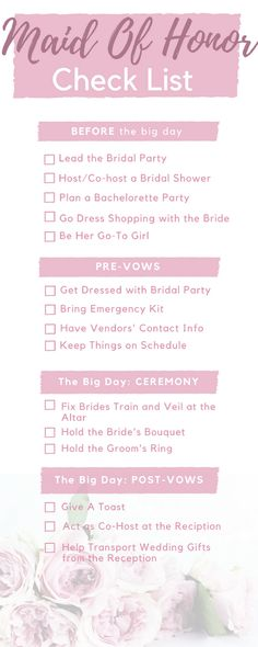 5a9805d005fb Maid of Honor Check List  Your Duties Before